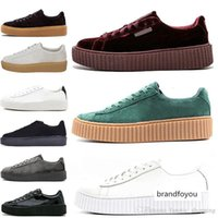 Wholesale rihanna fenty sneakers resale online - 2019 Rihanna Fenty Creeper Cleated Cracked Leather Suede Velvet Basket Platform Pumo Pum Outdoor Athletic Casual Shoes Sneakers
