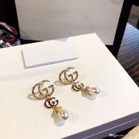Wholesale pearl cubic jewelry pendants for sale - Group buy Explosion G retro color diamond pearl pendant designer earrings luxury designer jewelry women earrings