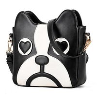 Wholesale dog bag pu leather resale online - High Quality Women Bag New Hit Preppy Style Color Fashion Handbags Pu Leather Sweet Ladycartoon Cute Little Dog Pack Shoulder Female