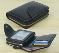 Wholesale leather zip around wallet resale online - Fashion Men wallets Genuine Leather Wallet Men Purse male wallet zip around Short money bag Coin Bag Money Holder Black Vertical