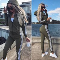 Discount two piece suit womens womens sports suit zipper jacket and pants two-piece set stripe stitching casual jogging suit suit Fashion ladies autumn clothing LY304