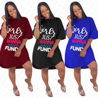 Wholesale solid color t shirt for girls for sale - Group buy GIRLS JUST WANNA HAVE FUND Letters Dress for Women Designer Summer Loose Blouse Dresses Above Knee Skirt Long T shirt Party Dress D71612
