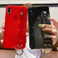 Wholesale iphone wrist strap resale online - Glitter Powder Holder Phone Case For iPhone X XR XS Max S Plus Transparent Soft TPU Wrist Strap Shockproof Back Cover