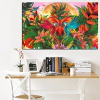 Wholesale tropical art prints resale online - Canvas Prints Pictures Framework Piece Tropical Jungle Flowering Bird Of Paradise Paintings Home Decor Wall Art Parrot Poster