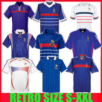 Wholesale 1998 FRANCE RETRO ZIDANE HENRY MAILLOT DE FOOT soccer jerseys Football shirt Trezeguet th anniversary finals