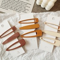 Wholesale hair style korea for sale - Group buy Trendy Hollow Geometric Hair Clips For Women Korea Style Hair Barrettes Waterdrop Styling Girls Handmade Wood Hairpins M2397