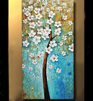 Wholesale pretty single for sale - Group buy Large Pretty Modern Tree Wall Decor Handpainted Oil painting On Canvas Modern Abstract Wall Art Canvas Pictures