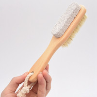 2 in 1 Sided Natural Bristles Brush Scrubber Wooden SPA Shower Brush Bath Body Massage Brushes Back Easy Clean Brushes Foot Files DBC BH3874