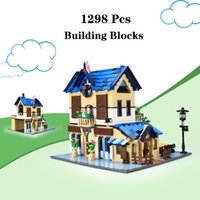 Wholesale country girl gifts for sale - Group buy 1298pcs building blocks French Country Lodge Home model architecture bricks diy creative educational toys for kids girl gifts