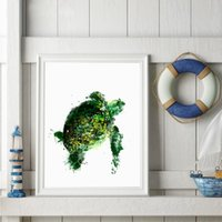 окрашенная черепаха оптовых-Abstract Sea Turtle Print Pictures , Watercolor Ocean Turtle Poster Canvas Art Painting Home Bathroom Wall Decoration