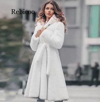 New Womens White Genuine Real Rex Fur long Winter Hooded Coat For Female Fashion Luxury Natural Fur Jacket