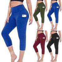 Wholesale women's yoga capri pants for sale - Group buy 3 Women s Stretch Yoga Leggings Fitness Running Sports Pant with Pockets Workout Active Gym Pants Soild Jogging Capri pants