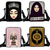 Wholesale kids messenger backpack resale online - Student One Shoulder Backpacks Muslim Girls Character Cartoon Small Satchel Multi function Messenger Bag Kids Mini Square Bags