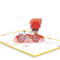 Wholesale pop up wedding invitation origami resale online - Creative D Foldable Bicycle Happiness mailbox Greeting Cards Pop UP Card Handmade Kirigami Origami Valentine s Day Wedding Invitation