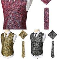 Wholesale vest tie set resale online - Casual three piece set fashionable printed lines vest chest tie vest three piece set SV08