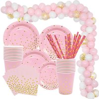Wholesale girls 1st birthday decorations resale online - Gold Pink Disposable Tableware Set Paper Plates Cup Napkin Baby st Birthday Party Decor Baby Shower Girl Party Supplies Balloon