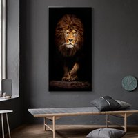 Wholesale animal art painting photos resale online - Large Wild Lion Animals Ferocious Beast Poster Wall Art Canvas Painting Prints Decorative Photo Pictures for Living Room Decor