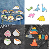 Wholesale lapels pins for sale - Group buy Enamel Brooch Pins Coffee Cup Frog Rainbow Happy Brooch Lapel Pins Badge fashion jewelry Will and Sandy DROP SHIP