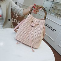 Wholesale hand crochet bags resale online - Two colors Bamboo New style Suitable for travel Simple style Versatile bucket shaped hand held woven Inclined shoulder bag lady