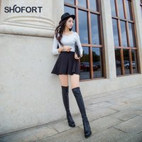 Wholesale over knee high wedge heel boots resale online - SHOFORT Long Tube Over the Knee Leather Boots Back Zip High Heel Stretch Stovepipe Boots Rubber Wedges Winter Shoes Women