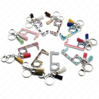 Wholesale plastic chain china resale online - Tassels Acrylic Keychain fpr Men Women Key rings Public Non contact Elevator Button Protective Tool Key Chain Ring Holder door opener E73101