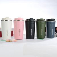 Wholesale green cup coffee resale online - 12oz oz Insulated Coffee mug Stainless Steel Coffee Cup with lid Vacuum insulated office drinking cup water bottle ml ml