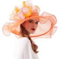 Wholesale white organza wedding hats resale online - FS Fashion Kentucky Derby Hats Wedding Tea Party Fascinators For Women Organza Large Wide Brim Ladies Summer Beach Sun Hat CX200715