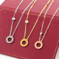 cz elmas kolye kolye toptan satış-LOVER Circle Necklace with CZ diamond Pendant Rose Gold Silver Color Necklace for Women Vintage Collar Costume Jewelry with original box set
