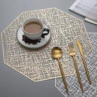Wholesale pink placemats resale online - 6 PVC Cutout Hangable Placemats Octagonal Hollow Non Slip Dining Table Mats Coaster Home set de table Decoration Placemat T200708