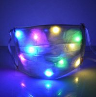 Wholesale led rainbow light bar resale online - LED Party Masks for Women Men Bar Luminous Face Mask Adult Face Masks Rainbow Color Light Changing Nightclub Masks Protective Cover D72108