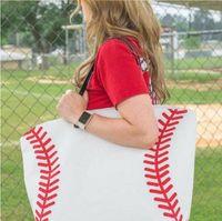 19 Styles Canvas Bag Baseball Tote Sports Bags Casual Softball Bag Football Soccer Basketball Cotton Canvas Tote Bag CCA7889 50pcs