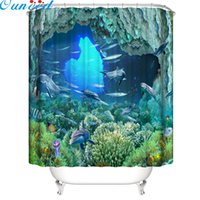 Wholesale shower curtain fish for sale - Group buy Ouneed Shower Curtains Beautiful sea world Waterproof Shower Curtain cute fishes Bathroom Bath Toilet Curtain new drop ship T200711