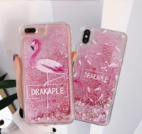 Wholesale dynamic liquid phone cases online – custom Quicksand Liquid Case Flamingo Phone Cases for iPhone X Plus XR XS Max Bling Dynamic Love Hearts Back Cover
