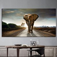 Wholesale landscape elephant painting resale online - Africa Elephant Animal Landscape Oil Painting Wall Art Pictures Painting Wall Art for Living Room Home Decor No Frame