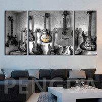Wholesale musical instruments art paintings resale online - Canvas Wall Art Printed Pictures Musical Instruments Guitar Poster Paintings Modular Home For Living Room Decoration Framework