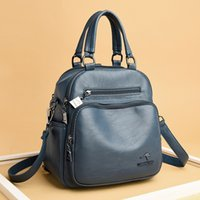 Wholesale mom backpacks resale online - 0ertX Kangaroo Hand backpack real leather backpack new women s bag multi functional soft leather large capacity single shoulder mom Han