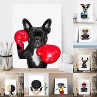 Wholesale funny cartoon posters for sale - Group buy Nordic Style Boxing Dog Canvas No Frame Art Print Painting Poster Funny Cartoon Animal Wall Pictures for Kids Room Decoration