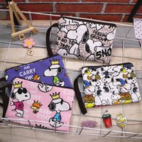 Wholesale clutch hand strap resale online - 4CvJ7 Canvas thick cosmetic Screen makeup cartoon Snoopy cute hand wrist strap zipper large screen mobile phone change key cosmetic bag penc