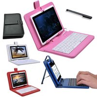 Wholesale tablet cases usb keyboards for sale - Group buy 7 inch Leather case with Micro USB keyboard for apad epad Flytouch tablet Case
