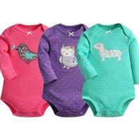Wholesale baby animals pajamas resale online - Baby Bodysuit Cotton pieces Autumn Spring Newborn Body Baby Long Sleeve Animal Pattern Boy Girl Pajamas Infant Clothes