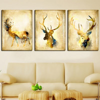 Wholesale giclee printing resale online - 3 Panels Nordic Wild Animal Canvas Oil Painting Modern Pop Art Deer Poster Prints Giclee Wall Art Picture Mural for Living Room Home Decor