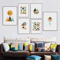 Wholesale abstract wall hangings resale online - Geometric Multicolored Abstract Art Painting Of Home Decoration Wall Living Room Bedroom Corridor Hanging Picture Frameless