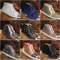Wholesale black spiked red bottom sneakers resale online - 2020 Red Bottoms Shoes Studded Spikes Flat designer Sneakers For Men Women Low Cut Suede Glitter Party Lovers Wedding Genuine Leather Rivet