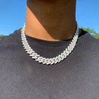 14mm Iced Cuban Link Prong Chain Necklace 14K White Gold Plated 2 Row Diamond Cubic Zirconia Jewelry 16inch-24inch Cuban Chain