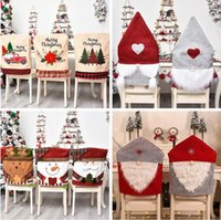 esszimmerstühle deckt groihandel-Chair Covers Christmas Chair Back Cover Dinner Dining Table Red Hat Non-woven Dining Chair Cover Slipcovers Christmas Decoration LSK587
