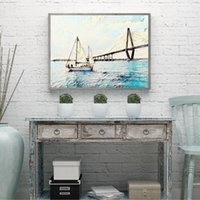 Wholesale art galleries paintings for sale - Group buy Ravenel Jr Bridge Oil Painting by Charleston SC Vintage Poster Gallery Fine Art Canvas Print Picture Living Room Wall Art Decor