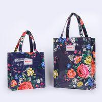 Wholesale handbag style lunch bags resale online - Original Pvc Canvas Women Reusable Shopping Bag Eco Friendly Flower Shopper Bag Waterproof Handbag Lunch Tote Shoulder Bag