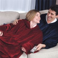 Wholesale warm blankets for women for sale - Group buy Plush Blanket Hoodie Outdoor Winter Hooded Coats For Adults Warm Slant Hooded Robe Bathrobe Fleece Pullover Blanket For Men Women Sea1970