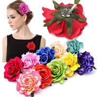 Wholesale bridal clips brooches for sale - Group buy 1PC Rose Artificial Flower Hair Clips for Women Wedding Party Bridal Brooch Hair Flower Hairpins Headwear Girls Accessories