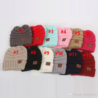 Wholesale kids grey hats resale online - Kids Winter Warm Hat Knitted CC Hat Label Children Chunky Stretchable kids Knitted Beanies Baby Hat Beanie Skully Hats color DHL